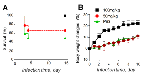 Protection of mice from morbidity and mortality of pneumococcal sepsis by Korean red ginseng (KRG). 100 mg/Kg KRG administration for 15 days (square) shows highest survival (A) as well as the highest body weight gain (B) during infection whereas the PBS control (green triangle)showed high death rate and body weight decrease. KRG-treated mice were infected with 1.5×106 CFU of virulent pneumococci (serotype 2, D39). KRG was dissolved in phosphate buffered saline (PBS), which was used as a negative control