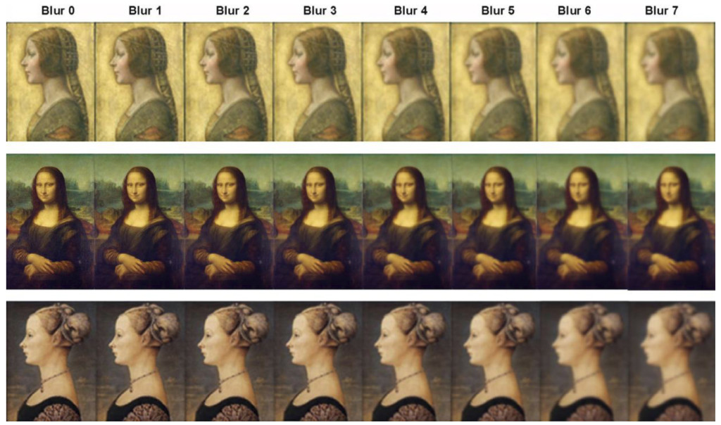 Fig. 1. Comparison of da Vinci's La Bella Principessa and Mona Lisa with control portrait (Portrait of a Girl by Pollaiuolo) with different levels of blur.