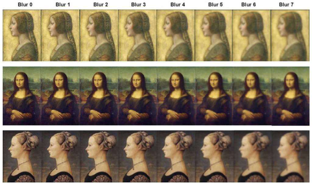 Fig. 1. Comparison of da Vinci's La Bella Principessa and Mona Lisa with control portrait (Portrait of a Girl by Pollaiuolo) with different levels of blur.