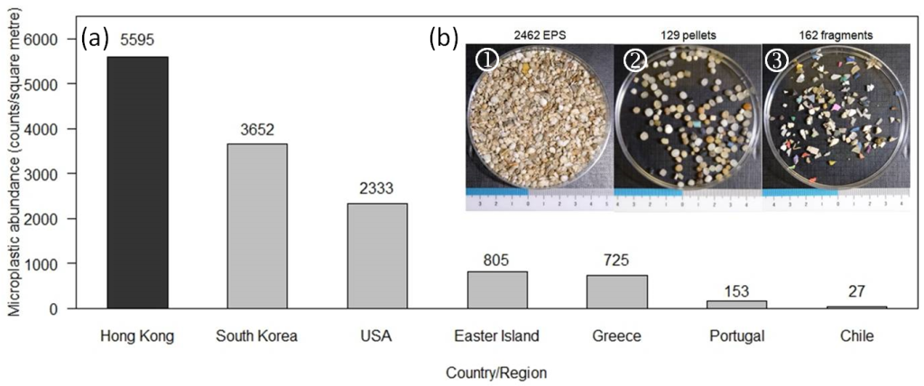 Fig. 2. (a) Bar chart comparing the average microplastic abundance at beaches of Hong Kong with other regions/countries; (b) microplastic sample collected from a beach in Victoria Harbour. Microplastics were classified into three groups: (1) expanded polystyrene (EPS), (2) fragments and (3) pellets.