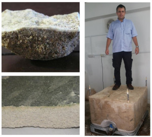 Fig. 1. Different types of biocemented structures in sand: calcite crust of sand surface, a layer and a block of biocemented sand.