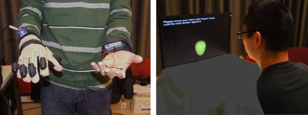 Fig. 1. Participants (Left) wore an orientation tracker and a data glove on their right hand, (Right) which was covered by cloth and a wooden box, and they saw a virtual balloon that they could make grow or shrink by opening or closing their hand, accordingly. The figure shows Ke Ma, the first author of the cited article.
