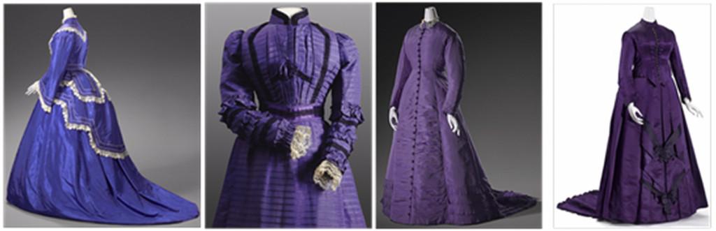 Fig. 1. Dress 1 circa 1865, dress 2 circa 1898, dress 3 circa 1878 and wedding gown circa 1885.