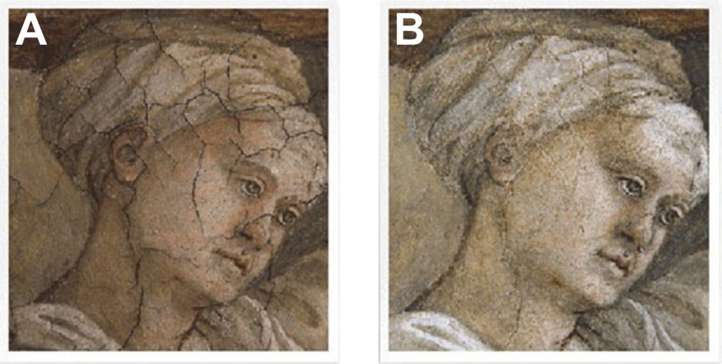 Fig. 1. Effect of consolidation process on works of art. (A) before treatment; (B) after consolidation.