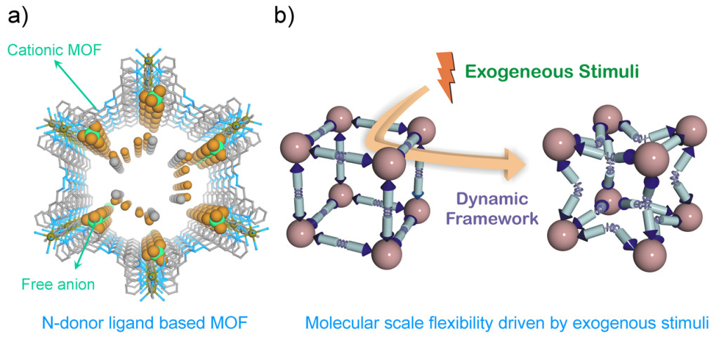 Fig 1: a) N-donor ligand based cationic MOF showing free anions in the lattice; b) schematic illustration of structural alteration in N-donor ligand based MOF via various exogenous stimuli.