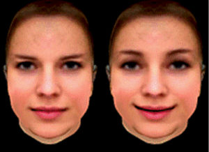 Examples for the neutral-looking (left) and smiling (right) three-dimensional heads/faces that moved either in synchrony with the participant's own head movements or with a noticeable delay.