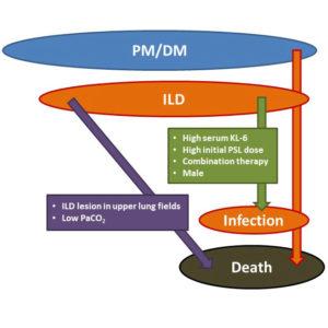 Schematic representation of the predictive prognostic factors for PM/DM-ILD.