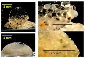 Formation of tightly packed encapsulation observed with both medium sand