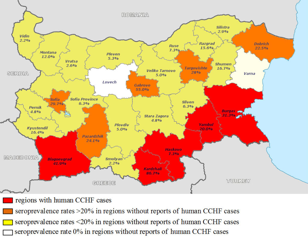 CCHFV seroprevalence in livestock in all regions in Bulgaria. District specific prevalence rates are indicated in the map.