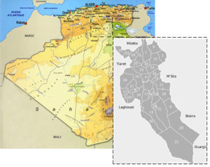Map of Algeria with the sampling localization of Djelfa province