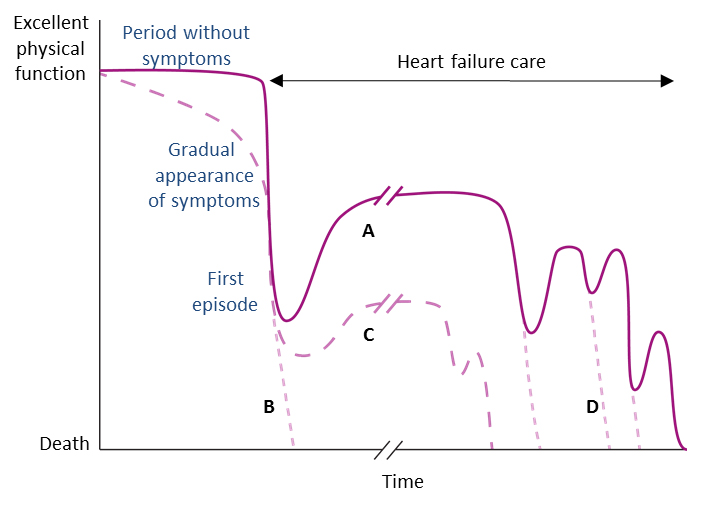 Possible typical progression of acute heart failure