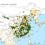 Distribution of Avian Influenza A(H7N9) virus infection in China. AoS