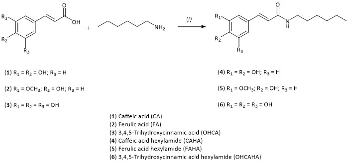 Atlas of Science. Synthesis and structures of hydroxycinnamic acid n-hexylamide derivatives.
